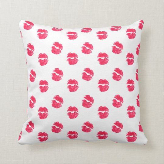 Red Lips Kiss Kisses Pattern Valentine's Day Love Throw Pillow