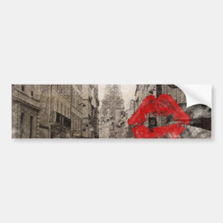 Red lips Kiss Shabby chic paris eiffel tower Bumper Sticker