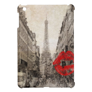 Red lips Kiss Shabby chic paris eiffel tower iPad Mini Covers