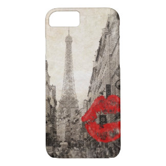 Red lips Kiss Shabby chic paris eiffel tower iPhone 8/7 Case