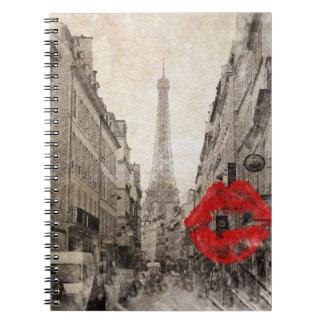 Red lips Kiss Shabby chic paris eiffel tower Spiral Notebook