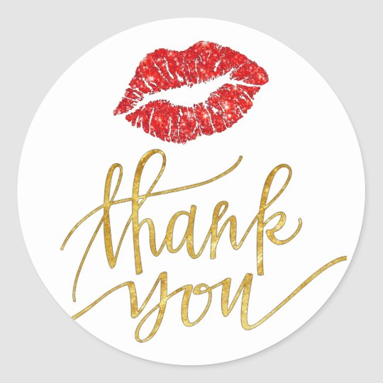 red lips kiss thank you classic round sticker