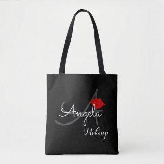 red lips . makeup artist monogram beauty black tote bag