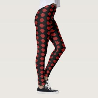 red lips / mouths pattern leggings