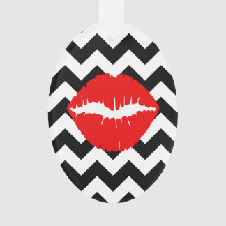Red Lips on Black and White Zigzag