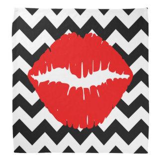 Red Lips on Black and White Zigzag Bandanas