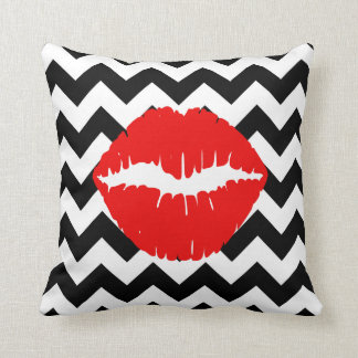Red Lips on Black and White Zigzag Cushion