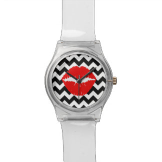 Red Lips on Black and White Zigzag Watch