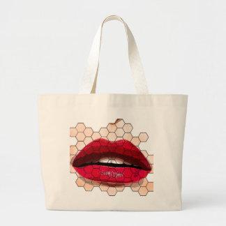 Red lips on chicken net jumbo tote. jumbo tote bag