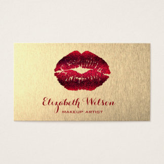 red lips on gold foil background makeup artist business card