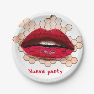 Red lips paper plates. paper plate