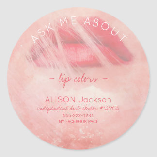Red lips print watercolor pink ask me promotional classic round sticker