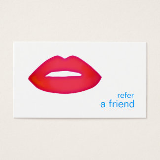 Red Lips Refer A Friend Coupon Salon Business Card