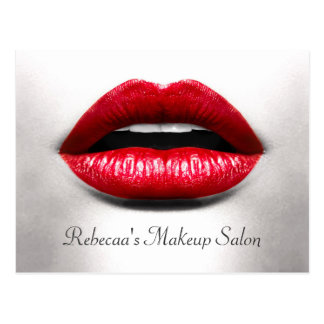 Red Lips Retro Beauty Stylish Makeup Salon Postcard