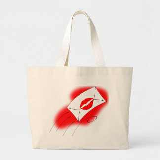 Red Lips Sealed with a Kiss Canvas Bag