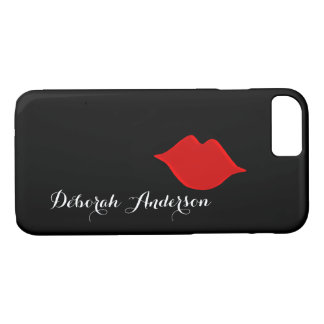 red lips with her name (script font-style) black iPhone 8/7 case