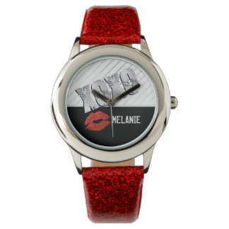 Red Lips with Hugs and Kisses Watches