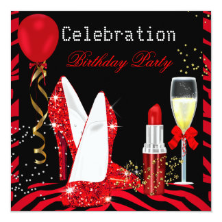 Red Lipstick Glitter Zebra Birthday Party Card
