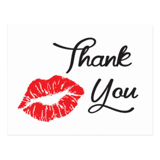 Red Lipstick Kiss Thank You Postcard