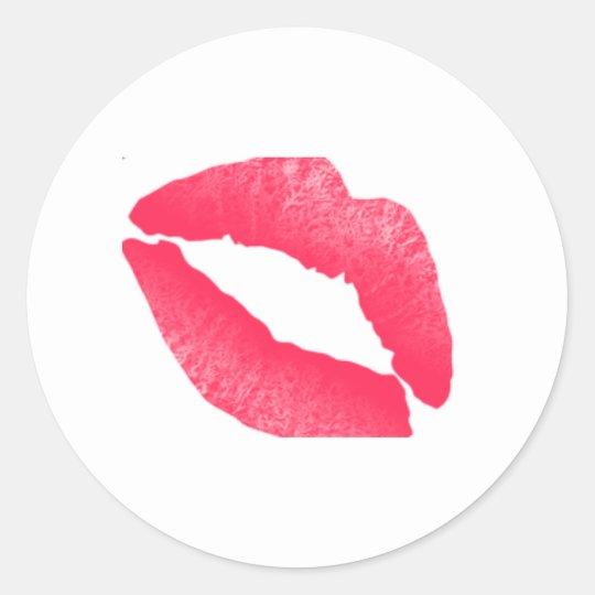 Red lipstick kiss watercolor sticker
