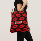Red Lipstick Kisses Pattern on Black Personalised Tote Bag
