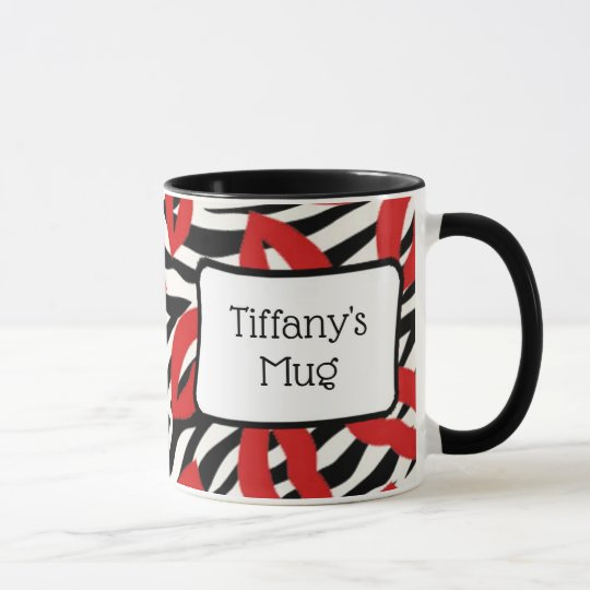Red Lipstick Kisses Personalised Coffee Mug