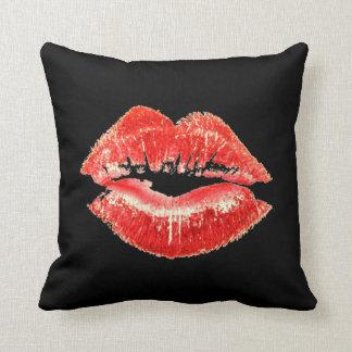 Red Lipstick Lips Kiss Pillow