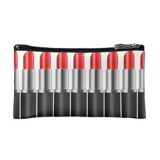 Red lipstick. makeup bag