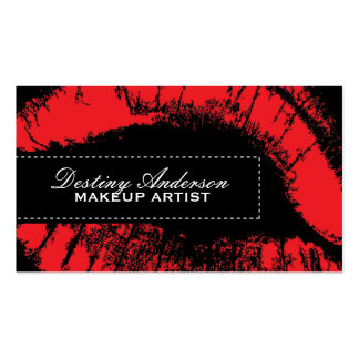 Red Lipstick Makeup Business Cards