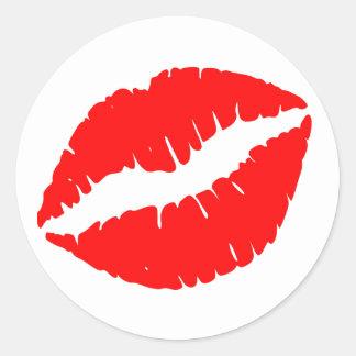 Red Lipstick Print Classic Round Sticker