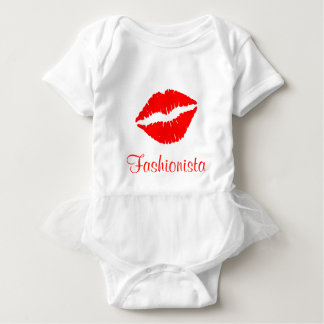 Red Lipstick Print Fashionista Baby Bodysuit
