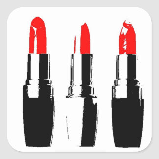 Red Lipstick Tubes Square Sticker