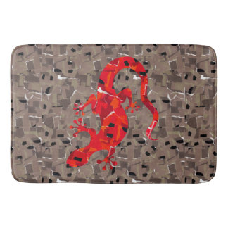 Red Lizard Collage Bath Mat