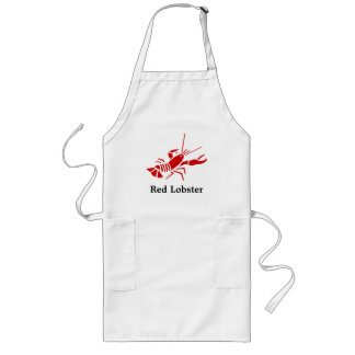 Red lobster apron with personalizable text | white