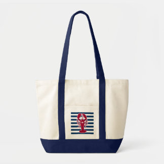 Red Lobster Canvas Tote Bag with Blue Stripes