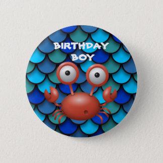 Red Lobster on Blue Birthday Child Button
