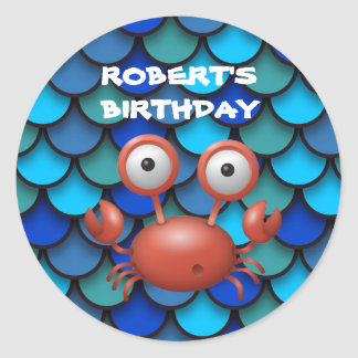 Red Lobster on Blue Under the Sea Birthday Classic Round Sticker