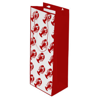Red Lobster Pattern Wine Gift Bag