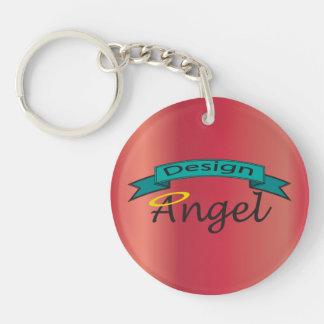 Red  Logo Branded Single Sided Key chain