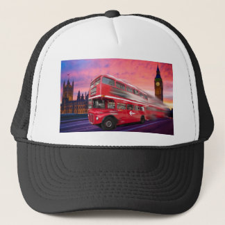 Red London bus and Big Ben Trucker Hat