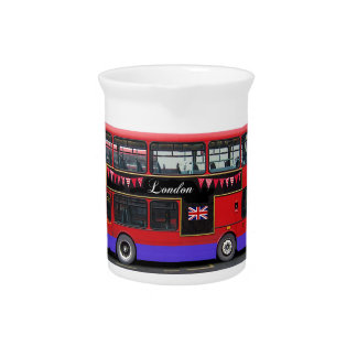 Red London Bus Double Decker Pitcher