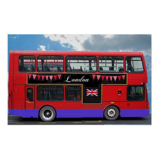 Red London Bus Double Decker Posters