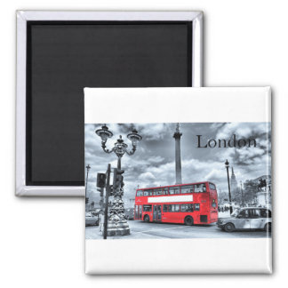 Red London Bus in B&W Square Magnet