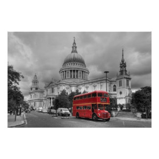 Red London bus in the City of London Print