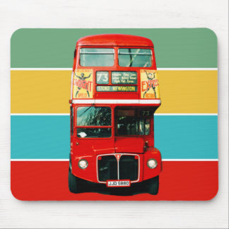Red London Bus on Colored Stripes Mouse Mat
