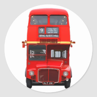 Red London Bus Round Stickers (pack)