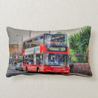 Red London Bus Street Scene Photo Artwork III Lumbar Cushion