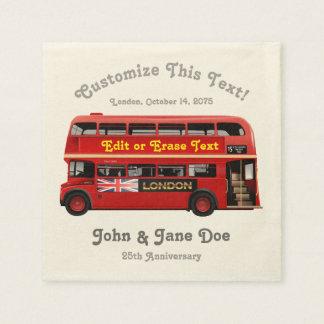 Red London Bus Themed Disposable Serviette
