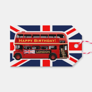 Red London Bus Themed Gift Tags