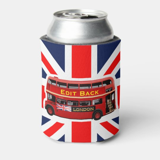 Red London Double Decker Bus Can Cooler